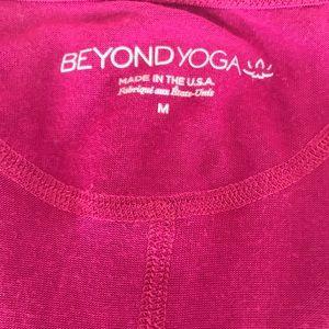 Beyond Yoga Tops - Beyond Yoga pink scallop tee size M